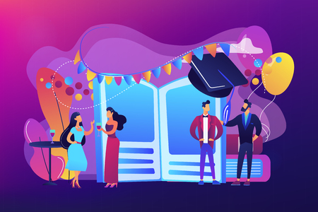 Tiny people high school students in dresses and suits chatting at promenade dance. Prom party, prom night invitation, promenade school dance concept. Bright vibrant violet vector isolated illustration