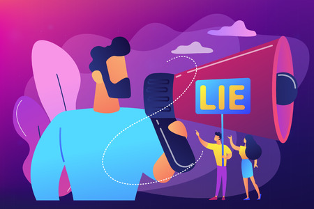 Businessman with huge megaphone cheating and tiny people holding word lie. Cheating in competition, cheater person, game cheats use concept. Bright vibrant violet vector isolated illustration