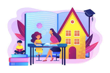 Niños en casa con tutor o padres recibiendo educación, gente diminuta. Educación en el hogar, plan de educación en el hogar, concepto de tutor en línea de educación en el hogar. Ilustración aislada de vector violeta vibrante brillante Ilustración de vector