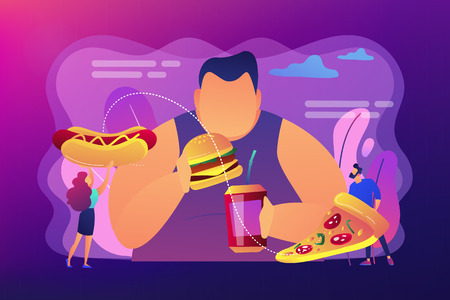 Overweight man eating burger, tiny people giving fast food. Overeating addiction, binge eating disorder, compulsive overeating treatment concept. Bright vibrant violet vector isolated illustration Ilustração