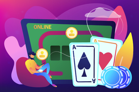 Businessman with smartphone playing poker online and casino table with cards and chips. Online poker, internet gambling, online casino rooms concept. Bright vibrant violet vector isolated illustration Ilustração