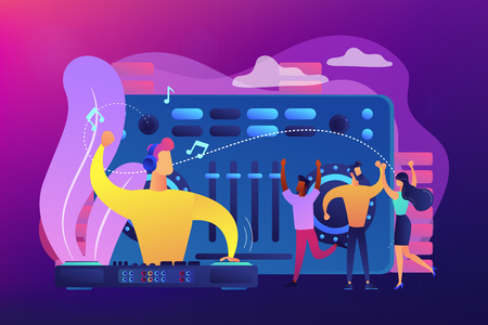 DJ in headphones at turntable playing music and tiny people dancing at party. Electronic music, DJ music set, DJing school courses concept. Bright vibrant violet vector isolated illustration