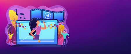 Huge laptop with famous singer performing on screen and tiny people dancing. Music video, official music video, video clip production concept. Header or footer banner template with copy space.