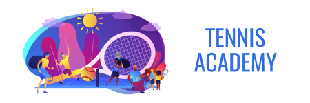 Coaches and kids on the court practicing with rackets in summer camp, tiny people. Tennis camp, tennis academy, junior tennis training concept. Header or footer banner template with copy space.