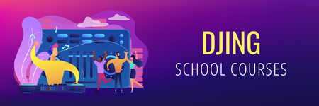 DJ in headphones at turntable playing music and tiny people dancing at party. Electronic music, DJ music set, DJing school courses concept. Header or footer banner template with copy space. Ilustração