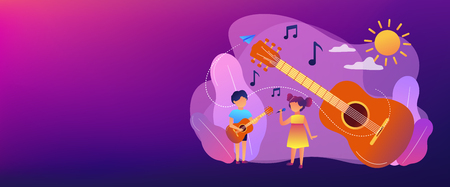 Happy kids enjoy singing and playing the guitar at summer camp, tiny people. Musical camp, young music talents, music and song courses concept. Header or footer banner template with copy space.
