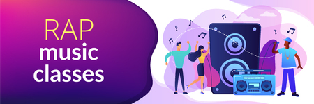 Hip hop singer with microphone at music speaker and tiny people dancing at concert. Hip hop music, hip hop party, RAP music classes concept. Header or footer banner template with copy space.
