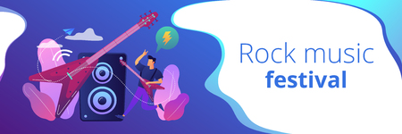 Guitarist playing the electric guitar at concert, tiny people. Rock music style, rock and roll party, rock music festival concept. Header or footer banner template with copy space. Illustration
