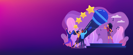 Famous pop singer near huge microphone singing and tiny people dancing at concert. Popular music, pop music industry, top chart artist concept. Header or footer banner template with copy space.