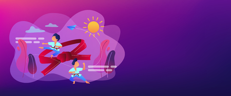 Young athletes doing karate outside at summer camp and big belt, tiny people. Karate camp, kids boxing club, fighting sport section concept. Header or footer banner template with copy space. Ilustração