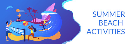 Tiny people adults playing volleyball, surfing and kitesurfing. Summer beach activities, seacoast entertainment, sea animation services concept. Header or footer banner template with copy space. Illustration