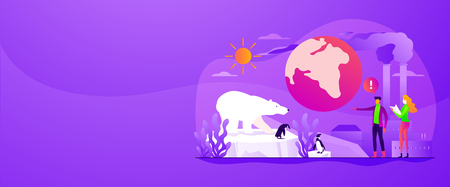 Global warming, environment pollution, global heating impact concept. Vector banner template for social media with text copy space and infographic concept illustration.