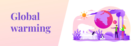 Global warming web banner concept. 矢量图像