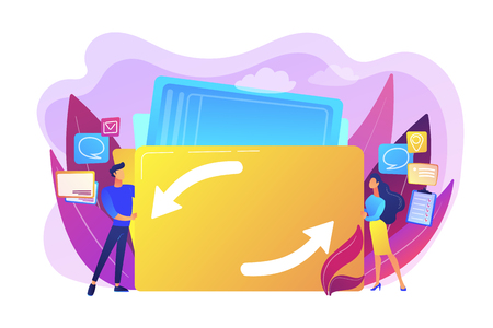 Delegating duties and responsibilities to colleagues. Job sharing, alternative work schedule, collaborative employment, division of a job concept. Bright vibrant violet vector isolated illustration Çizim