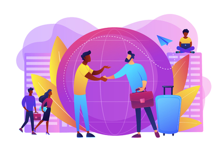 Human resources agency for migrants. Help hub. Expat work, effective migrant workers, expatriate programme, outside country employment concept. Bright vibrant violet vector isolated illustration