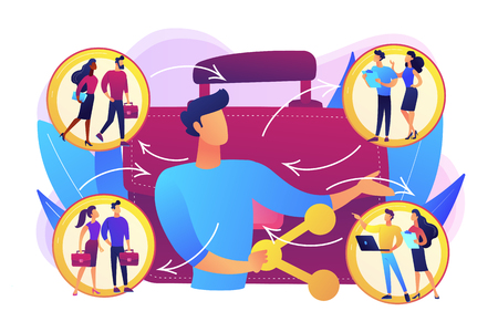 Job interview, vacancy candidates. Social networking, workflow. Employee sharing, new forms of employment, strategic employment sharing concept. Bright vibrant violet vector isolated illustration