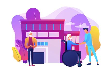 Caregiving, volunteering. Disabled patient support, hospital assistance. Elderly care, senior homesick nursing, elderly care services concept. Bright vibrant violet vector isolated illustration