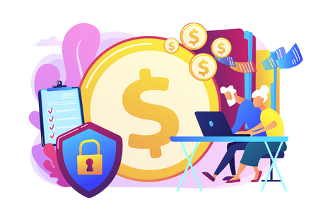 Age pension, money savings. Online banking account protection. Elderly financial security, elderly poverty problem, seniors budget planning concept. Bright vibrant violet vector isolated illustration 向量圖像