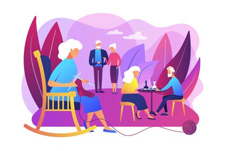 Passe-temps des retraités à la maison de retraite. Couple âgé jouant aux échecs. Activités pour les personnes âgées, mode de vie actif des personnes âgées, concept de dépense de temps pour les personnes âgées. Illustration isolée de vecteur violet vif lumineux Vecteurs