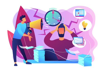 Exhausted, frustrated worker, burnout. Boss shout at employee, deadline. How to relieve stress, acute stress disorder, work related stress concept. Bright vibrant violet vector isolated illustration Иллюстрация