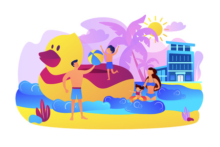 Parents, children swimming. Kids sunbathing near sea resort, hotel. Family vacations, all ages vacation, fantastic family adventure concept. Bright vibrant violet vector isolated illustration