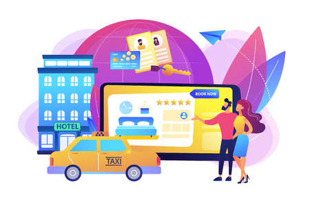 Searching hostel, accommodation. Ordering taxi, cab. Online booking services, internet reservation system, accommodation search concept. Bright vibrant violet vector isolated illustration