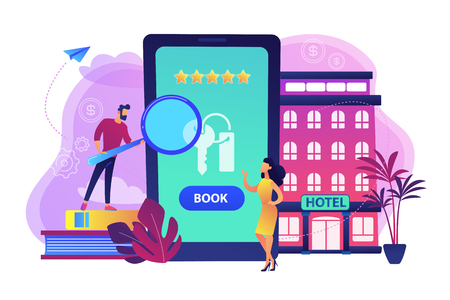 Booking accommodation mobile application. Website for ordering guestrooms, finding hostels location. Hotel room reservation concept. Bright vibrant violet vector isolated illustration