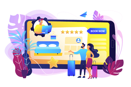 Room reservation online customer support, consultation. Virtual reception office. Internet booking, accommodation search helpline chat concept. Bright vibrant violet vector isolated illustration Ilustração