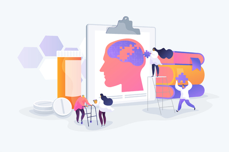 Memory loss, brain illness treatment, therapy. Elderly people mental disorders. Caregivers with patients. Alzheimer disease, dementia, dotage concept. Vector isolated concept creative illustration
