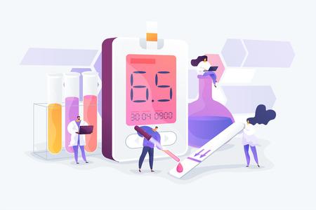 Recherche en laboratoire médical. Analyse d'échantillon de sang. Tests en laboratoire de tubes. Diagnostic des maladies. Diabète sucré, diabète de type 2, concept de production d'insuline. Illustration créative de concept isolé de vecteur