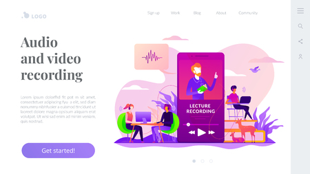 Recorded classes landing page template. Vetores
