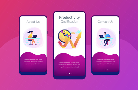 Businessman working on clock hand and businesswoman with laptop. Productivity, efficiency of production, qualification concept on white background. Mobile UI UX GUI template, app interface wireframe Vector Illustration