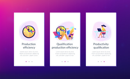 Businessman working on clock hand and businesswoman with laptop. Productivity, efficiency of production, qualification concept on white background. Mobile UI UX GUI template, app interface wireframe Illustration