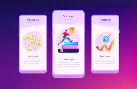 Businessman with trophy cup jumping on books to target and rising arrow. Motivation, job success, encouragement concept on white background. Mobile UI UX GUI template, app interface wireframe