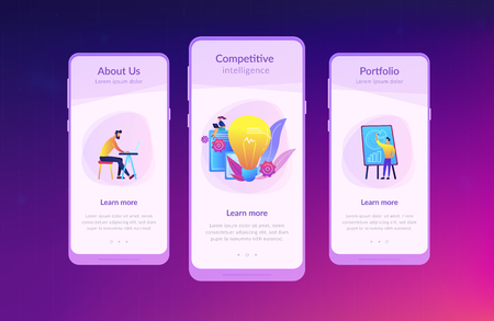 Business people analyzing and lightbulb. Competitive intelligence and environment, information and marketplace analysis concept on white background. Mobile UI UX GUI template, app interface wireframe