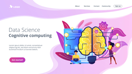 Big brain with circuit and programmers. Artificial intelligence, machine learning and data science, cognitive computing concept on white background. Website vibrant violet landing web page template.