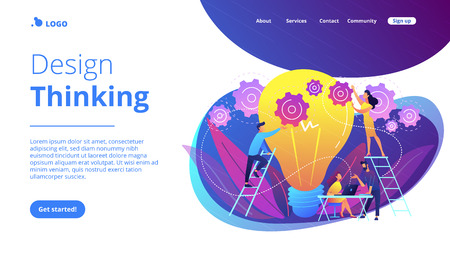 Business team putting gears on big lightbulb. New idea engineering, business model innovation and design thinking concept on white background. Website vibrant violet landing web page template. Иллюстрация