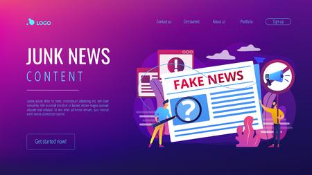 Fake news concept landing page