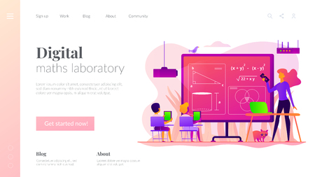 Math lessons landing page template. Illustration