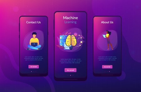 Big brain with circuit and programmers. Artificial intelligence, machine learning and data science, cognitive computing concept on white background. Mobile UI UX GUI template, app interface wireframe  イラスト・ベクター素材