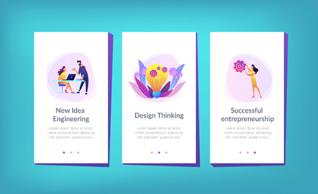Business team putting gears on big lightbulb. New idea engineering, business model innovation and design thinking concept on white background. Mobile UI UX GUI template, app interface wireframe
