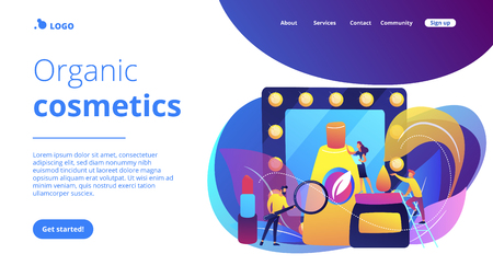 Specialists studying the natural ingredients of organic cosmetics. Organic cosmetics, organic makeup, natural ingredient cosmetics concept. Website vibrant violet landing web page template. Vettoriali