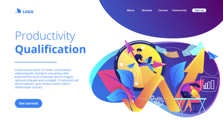 Businessman working on clock hand and businesswoman with laptop. Productivity, efficiency of production, qualification concept on white background. Website vibrant violet landing web page template.