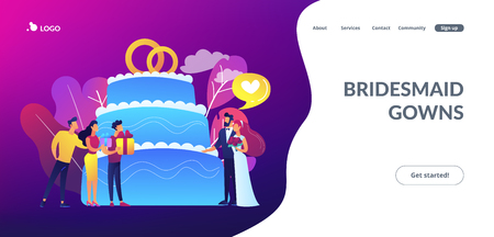 Bride and groom at wedding party and guests with gifts at big cake. Wedding party planning, bridal party ideas, bridesmaid dresses and gowns concept. Website vibrant violet landing web page template.
