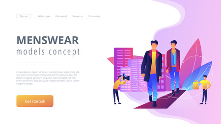 Men style and fashion concept landing page. Illustration