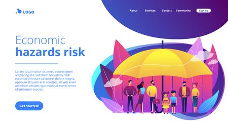 Individuals under umbrella protection against economic hazards. Social insurance, economic hazards risk, social security number concept. Website vibrant violet landing web page template.