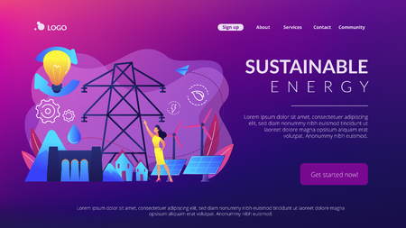 Sustainable energy concept landing page.