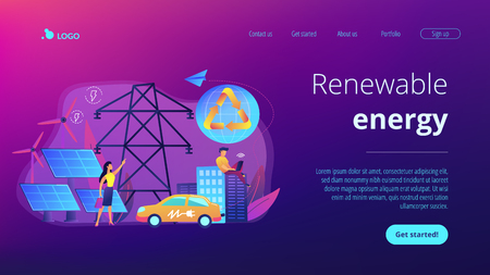 Renewable energy concept landing page. Ilustrace
