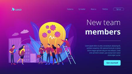 Página de inicio del concepto de nuevos miembros del equipo Ilustración de vector