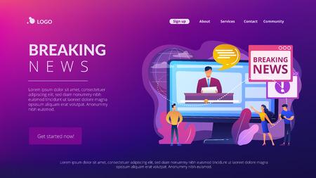 Hot online information concept landing page Vettoriali